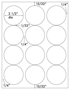 3 4 round label template - 1 200 round labels 2 1 2 inch diameter white matte laser