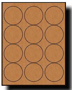 240 brown kraft labels 2 5 diameter round 20 sheets use for Avery 2 round label template