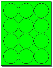 240 labels 2 1 2 inch round flourescent neon green 12 With avery 2 inch round labels 20 per sheet