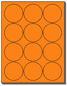 1 200 fluorescent orange 2 5 inch circle or round laser labels use avery 5294 template 12. Black Bedroom Furniture Sets. Home Design Ideas