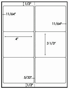 Six Labels per Sheet, 100 Sheets Avery® 5164