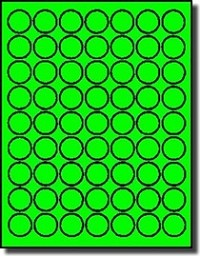 1,260 Fluorescent Neon Green LASER ONLY one inch Diameter Round Stickers - Labels, 63 Labels per Sheet, 20 Sheets