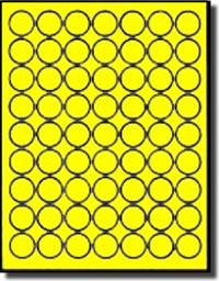 1,260 Neon Fluorescent LASER ONLY Yellow Round 1 inch Diameter Labels or Stickers, 63 per Sheet, 20 Sheets