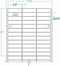 15,000 Compulabel® 130307 Three Across Label, 3-1/2 x 15/16 inches (Same size as Avery® 4031)