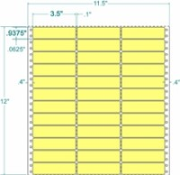 Compulabel® 130702 Pastel Yellow 3 Across Labels, 3-1/2 x 15/16,  Perforated Vertically Between Labels, 15,000 Pinfeed Labels per Box