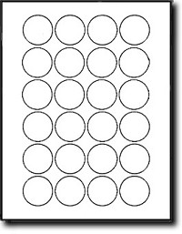 2,400 Circle or Round Labels 1-1/2 Diameter, White Matte Inkjet and Laser Stickers 100 Sheets, 24 Labels per Sheet