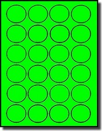 2,400 Fluorescent Neon Green Round Labels, 1.5 inch Diameter, 24 Labels per Sheet, 100 Sheets