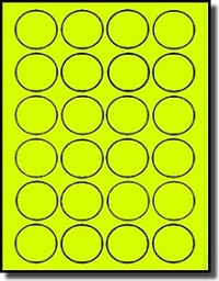 480 Fluorescent Neon Yellow Round LASER ONLY Labels - 1-1/2 inch Diameter - 20 Sheets