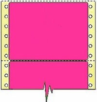 Compulabel® 161807 Fluorescent Pink Continuous Labels 4 x 2-15/16, Perfed Between Labels, 2,500 Labels per Box