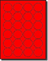 2,400 Fluorescent Red Labels 1-5/8 Diameter Round, 24 per Sheet, 100 Sheets,  use Avery® 5293 Template