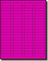 1,600 Fluorescent Neon Pink Labels, 1.75 x 0.5, 20 Sheets with 80 Labels per Sheet use Avery® 5267 Template - Laser Printers Only