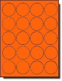 400 Round Neon High Visibility Orange Laser Only Labels, 2 inch Diameter, 20 Sheets with 20 Labels per Sheet
