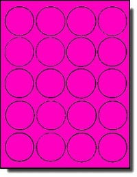 400 Round Neon High Visibility Hot Pink Laser Only Labels or Stickers, 2 inch Diameter, 20 Sheets
