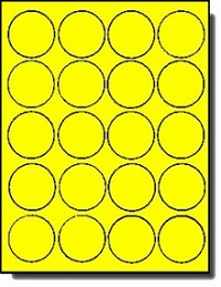 400 Neon Yellow Fluorescent Round Laser Only Labels 2 inch Diameter, 20 Sheets with 20 Labels per Sheet
