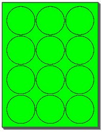 240 Labels 2-1/2 inch Round Flourescent Neon Green, 12 Labels per Sheet use Avery 5294 Template 20 Sheets