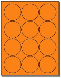 "240 Flourescent Neon Orange 2-1/2"" Round Labels, 12 Labels per Sheet, 20 Sheets, use Avery® 5294 Template"
