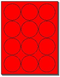 "240 Round Labels 2-1/2"" Fluorescent Red Circles 20 Sheets with 12 Stickers per Sheet, use Avery® 5294 Template"