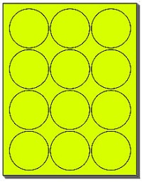 "240 Round Labels 2.5"" Neon Yellow Fluorescent Round Labels 20 Sheets use Avery® 5294 Template"