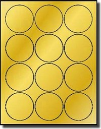 240 Round 2.5 inch Diameter Laser ONLY Printable Gold Foil Labels with 12 Labels per Sheet, use Avery® 5294 Template, 20 Sheets