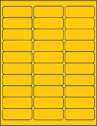 3,000 Yellow Address Labels, 1 x 2-5/8, 30 per Sheet, 100 Sheets - CLEARANCE ITEM!