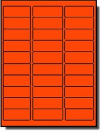 600 Fluorescent Neon Red Laser Only Labels, 2-5/8 x 1 Laser Only, 20 Sheets with 30 Labels per Sheet, use Avery® 5160 Template