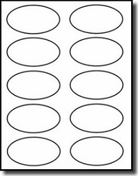 "1,000 White Laser ONLY Glossy Oval Labels 3-1/4"" x 2"", 10 per Sheet, 100 Sheets"