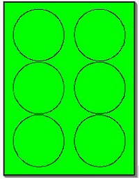 120 Round Neon Labels 3.33 inch Fluorescent Green Stickers, 6 Labels per Sheet, 20 Sheets use Avery® 5295 Template