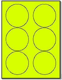 "600 Round 3-1/3"" Fluorescent Yellow Circles, 6 Labels per Sheet, 100 Sheets use Avery® 5295 Template"