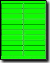 2,000 Fluorescent Green Laser ONLY Labels, 4 x 1,100 Sheets  with 20 Labels per Sheet, use Avery® 5261 Template