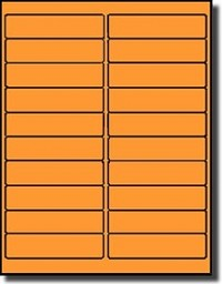 400 Labels, 4 x 1 inches Fluorescent Neon Orange 20 Sheets use Avery® 5261 Template Laser Printers Only