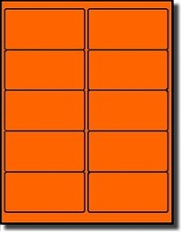 1,000 Label Outfitters® Fluorescent Neon Orange LASER ONLY 4 x 2 Labels use Avery® 5163, Compulabel® 312197 Template, 100 Sheets