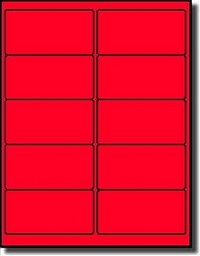 200 Fluorescent Neon Red Laser ONLY Labels, 4 x 2, 20 Sheets use Avery® 5163, Uline S-3847-R Template