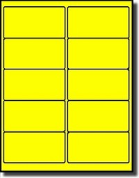 1,000 Label Outfitters® Fluorescent Neon Yellow LASER ONLY 4 x 2 Labels use Avery® 5163, Compulabel® 312186 Template, 100 Sheets
