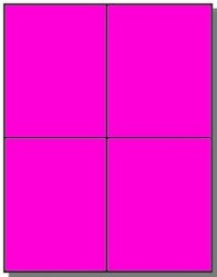 80 Quarter Sheet 4.25 x 5.50 Fluorescent Pink Labels, 20 Sheets Laser Printers Only