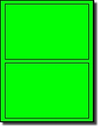 CLOSEOUT SALE - 40 Large Laser Only Fluorescent Green Labels, 7 x 5, 2 per Sheet, 20 Sheets
