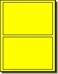 CLOSEOUT SALE - 40 Laser Only Fluorescent Yellow DVD Case Labels, 7 x 5, 2 per Sheet, 20 Sheets