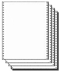800 Sets 8.5 x 11 Four Part Carbonless NCR-  All Parts Blank White 15#, 14#, 14#, 15# NO SIDE PERFORATIONS, Black Image Continuous Stock Computer Paper