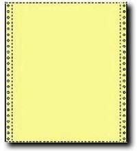 2,700 Sheets of 9.5 x 11 Carbonless One Part, 20 lb Canary Yellow Bond Computer Paper,  Canary Yellow, Standard Perforations all Four Sides