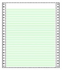 2,700 9.5 x 11 One Part 1/6 inch Green Bar with Blank Header  20# Heavy Weight Continuous Stock Computer Paper, Perforated Both Sides