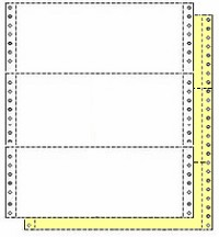 "4,800 Sets 9-1/2"" x 3-2/3"" Carbonless 2 Part Continuous Computer Paper, 1/2"" Perforation Right & Left, White/Canary"