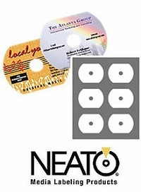 CLOSEOUT ITEM - 300 Genuine Neato® CLP-192341 Laser ONLY Glossy HandiCD Labels - Hockey Rink Shape - 50 Sheets