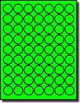 6,300 LASER ONLY Labels, 1 inch Round  Fluorescent Neon Green Stickers or Labels , 63 Labels per Sheet,100 Sheets