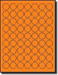 6,300 LASER ONLY 1 inch Diameter Round Labels, 63 Stickers per Sheet, Fluorescent Orange, 100 Sheets