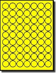 6,300 Fluorescent Yellow 1 inch Diameter Round LASER ONLY Labels, 63 Stickers per Sheet, 100 Sheets, 63 per Sheet,