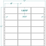 Compulabel® 130500 Three Across Pin Feed Dot Matrix Label 4 x 1-15/16  (4 x 2 )