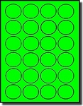 480 Fluorescent Neon Green Round Laser Only Labels, 1.5 inch Diameter, 24 Labels per Sheet, 20 Sheets