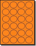 480 Fluorescent Neon Orange Round Laser ONLY Labels, 1-1/2 inch Diameter, 24 Labels per Sheet, 20 Sheets