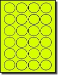2,400 Fluorescent Neon Yellow Round Laser Only Labels - 1.5 inch Diameter - 100 Sheets