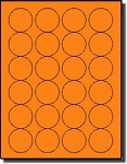 2,400 Round Fluorescent Neon Orange 1-5/8 inch Diameter Labels, 100 Sheets, 24 Labels per Sheet, use Avery® 5293 Template