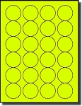 480 Fluorescent Neon Yellow Laser Labels - 1-5/8 inch Diameter, 24 Labels per Sheet, 20 Sheets use Avery® 5293 Template